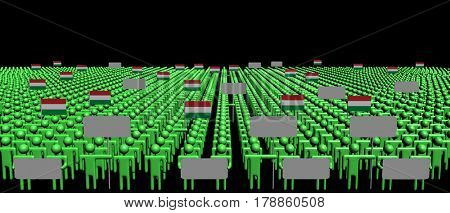 Crowd of people with signs and Hungarian flags 3d illustration
