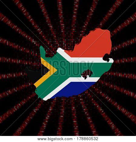 South Africa map flag on red hex code burst 3d illustration