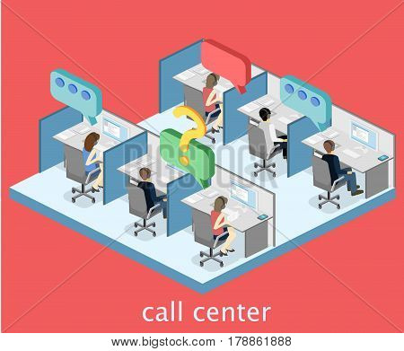 Isometric Flat 3D Interior Working With Headset In Call Center.