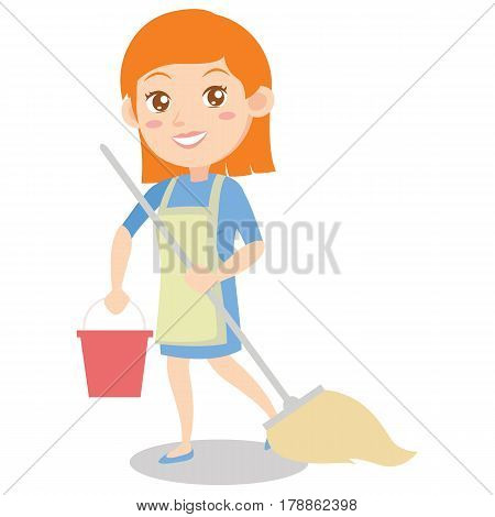 Housewife cleaning house of character vector illustration