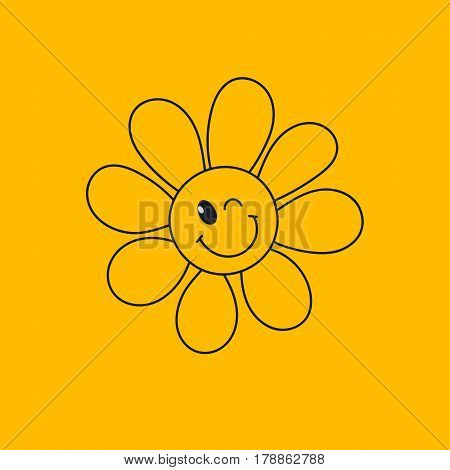 Smiley face daisy winking. Hand drawn line icon good day isolated on yellow. Happy flower emoji emoticon. Vector illustration.