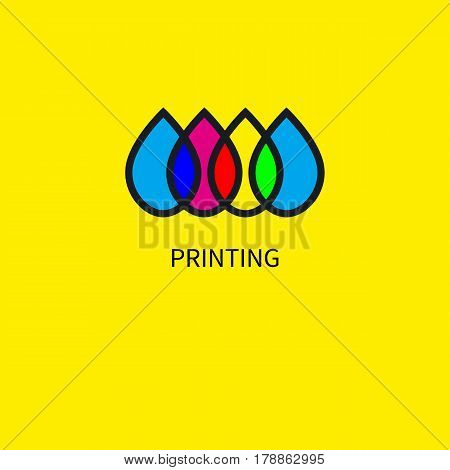 Logo printing house. Icon subtractive and addictive color models cmyk and rgb. Intersecting colored drops. Vector illustration. poster