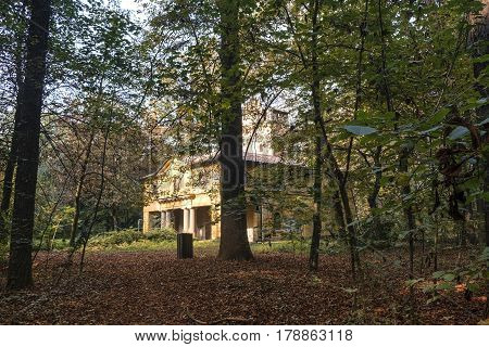 Monza (Brianza Lombardy Italy): the park at fall (october) historic Cantone Mill (Mulino del Cantone)