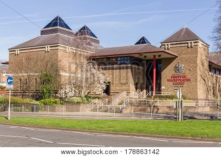Chester England UK - March 25 2017: Chester Magistrates Court on Grosvenor Street it is the legal centre of criminal and civil legal proceedings in the county of Cheshire
