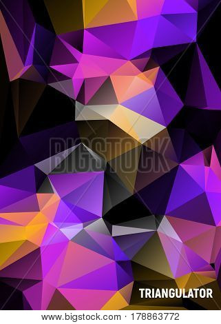 Vector abstract triangulated polygon with pink  colour background