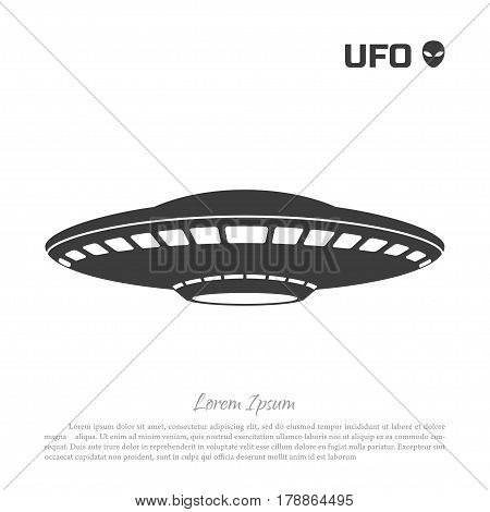 Black silhouette ofa UFO on white background. Vector illustration