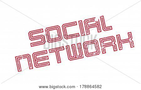 Social Network rubber stamp. Grunge design with dust scratches. Effects can be easily removed for a clean, crisp look. Color is easily changed.