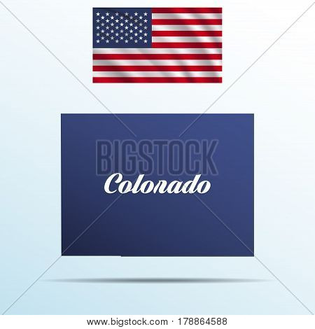 Colorado state with shadow with USA waving flag