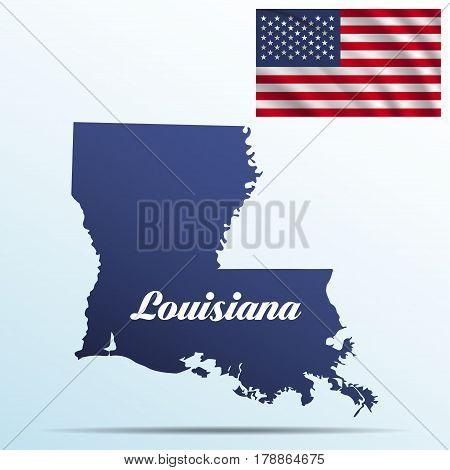 Louisiana state with shadow with USA waving flag