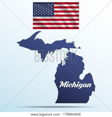 Michigan state with shadow with USA waving flag