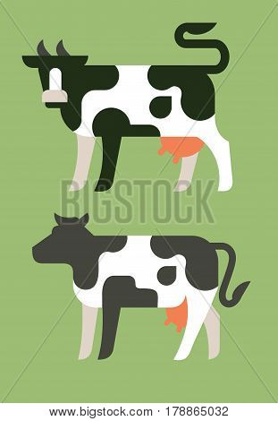 vector illustration of the cow gives milk