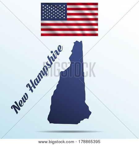 New Hampshire state with shadow with USA waving flag
