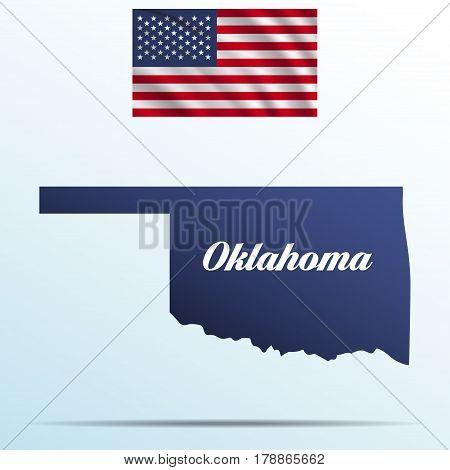 Oklahoma state with shadow with USA waving flag