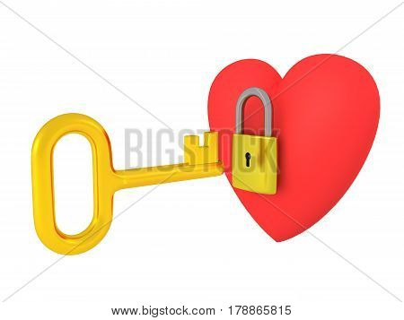 3D heart locked with a padlock with a golden key trying to open it.