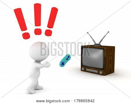 3D Character throwing angrily video game controller at the television screen. Depicting how gamers get angry when they lose
