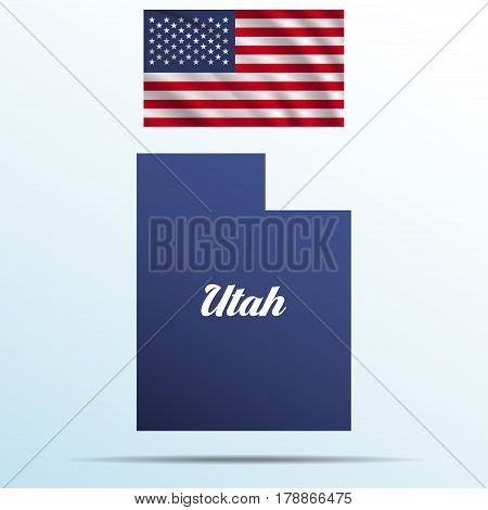 Utah state with shadow with USA waving flag