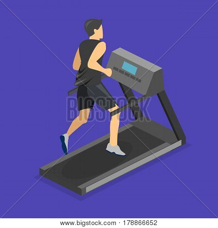 Isometric Flat 3D Isolated Man Is Running On The Treadmill