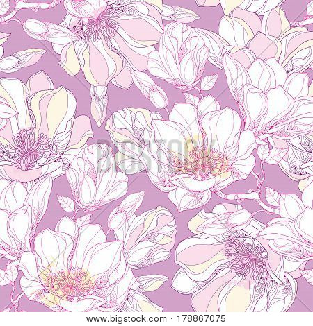 Vector seamless pattern with ornate magnolia flower, buds and leaves in white on the pastel background. Floral background in contour style for summer design.