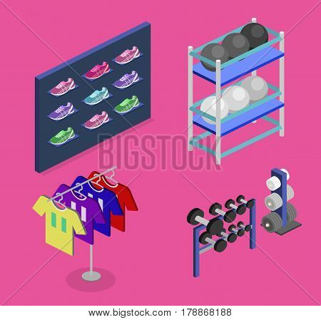 Isometric Flat 3D Concept Vector Goods For The Sports Shop.