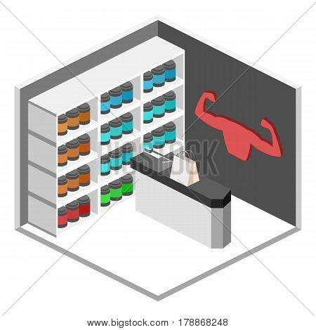 Isometric Flat 3D Isolated Vector Cutaway Interior Sports Supplements Shop.