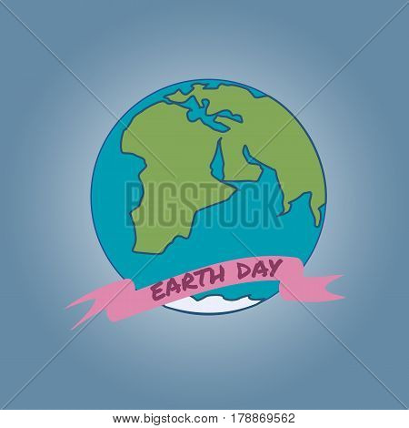 Cartoon Earth Day Illustration. Planet on blue background, Text on pink ribbon. Vector illustration