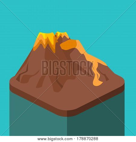 Isometric Flat 3D Volcano Magma Nature Blowing Up