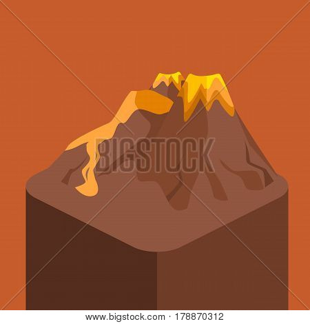 Isometric Flat 3D Isolated Vector Volcano Magma Nature Blowing Up