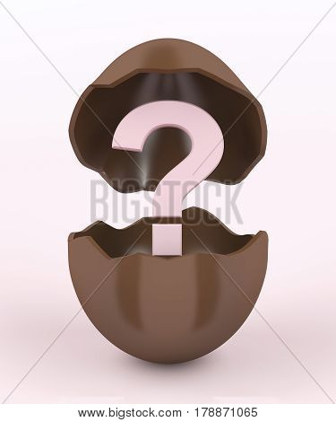 Broken chocolate egg with a unknown surprise inside, 3D illustration