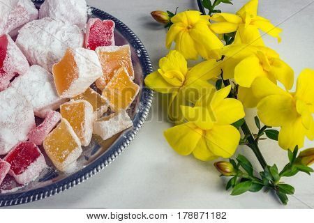 Arabic traditional dessert rahat lukum turkish sweets. Breakfast concept. poster