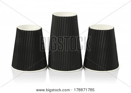 Three Disposable Black Coffee Cups on White Background