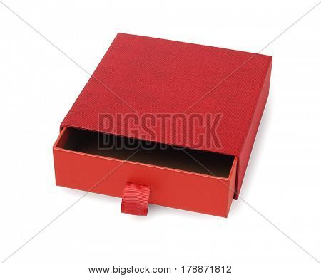 Red Open Gift Box on White Background