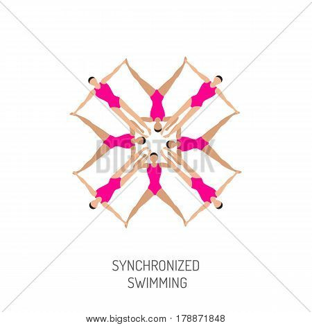 Professional athletes womens team of synchronized swimming perform in the water art figure, vector illustration in flat style. Competitions in synchronized swimming