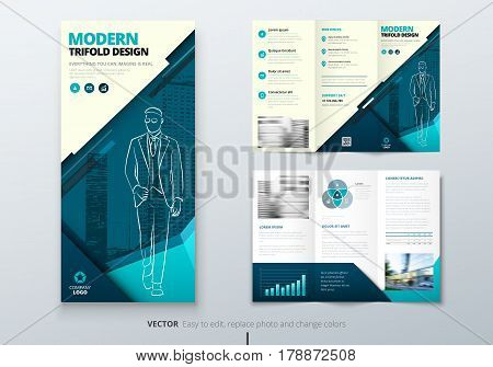 Tri fold brochure design. Teal DL Corporate business template for try fold brochure or flyer. Layout with modern elements and abstract background. Creative concept folded flyer or brochure.