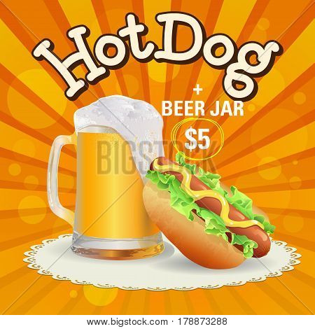 Beer and hot dog offer. Hand made vector illustration