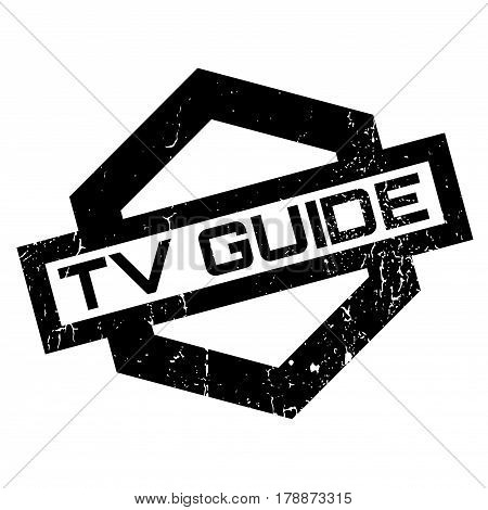 Tv Guide rubber stamp. Grunge design with dust scratches. Effects can be easily removed for a clean, crisp look. Color is easily changed.