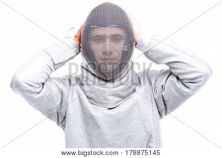 Young Man Professional Fencer Wearing Helmet On White