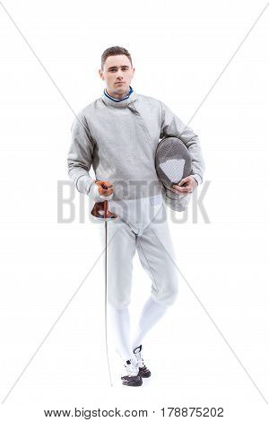 Young Confident Man Professional Fencer Standing With Helmet And Rapier