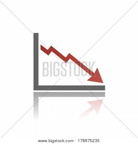 Bankruptcy chart icon with reflection on white background