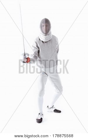 Fencer In Uniform Holding Rapier In Hand For Training On White