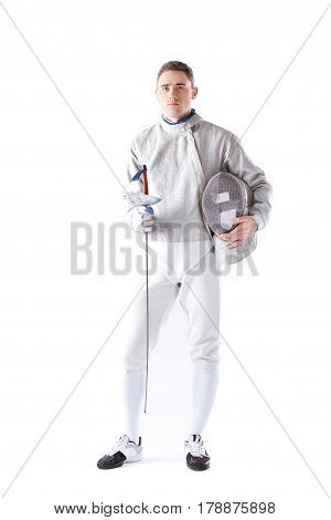 Serious Fencer Holding Rapier And Mask In Hands On White