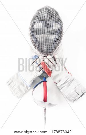 Professional Fencing Equipment, Mask, Gloves And Rapier Isolated On White