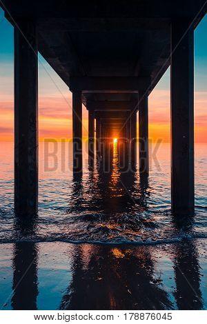 Sunset viewed from under Brighton Jetty South Australia