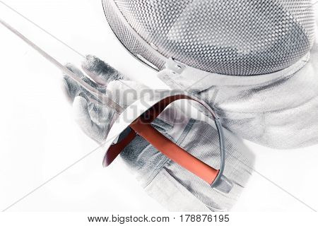 Professional Fencing Equipment, Mask, Glove And Rapier Isolated On White