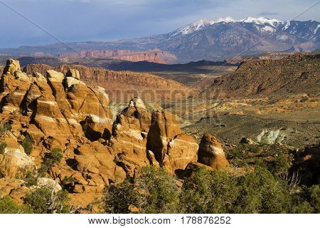 View of the Manti-La Salle Mountains from the Firey Furnace at Arches National Park near Moab Utah