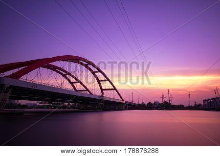 Beautiful sunset on Binh Loi Bridge. Ho Chi Minh City, Vietnam
