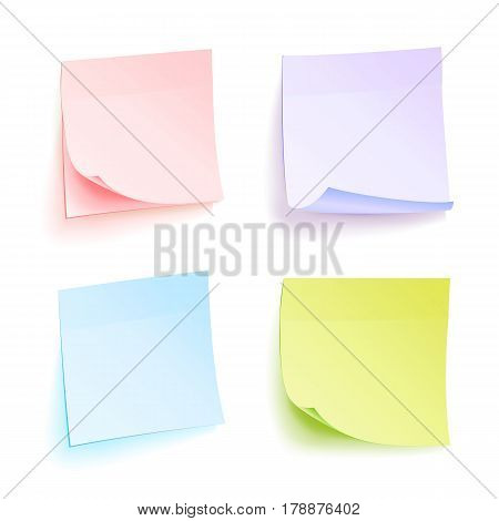 Paper Work Notes Isolated Vector. Set Of Color Sheets Of Note Papers. Four Bright Sticky