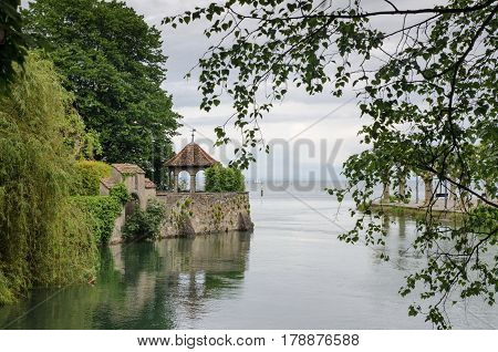 Romantic pavilion of Konstanz (Constance) promenade on Bodensee Lake. Germany