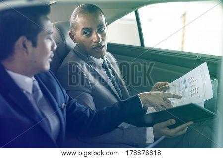 Business Men Talk Report Inside Car