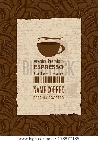 design vector label for coffee beans with cup and barcode in retro style on the background of manuscript