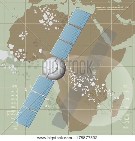 Vector illustration depicting a communications satellite over Africa